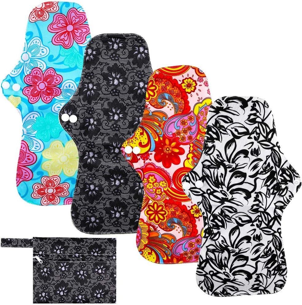 Rovtop 4PCS 35 cm Reutilizables de Carbón de Bambú para Noche - Almohadilla Menstrual Reutilizable Compresa Super Larga para el Cuidado Nocturno, Deportivo y Posparto + 1 Bolsa de Transporte Mini