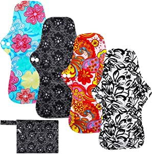 Rovtop 4PCS 35 cm Reutilizables de Carbón de Bambú para Noche - Almohadilla Menstrual Reutilizable Compresa Super Larga para el Cuidado Nocturno, Deportivo y Posparto + 1 Bolsa de Transporte Mini: Amazon.es: Bebé
