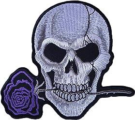 Totenkopf Lila Rose Flower Patch Eisen auf Sew On Embroidered Badge Motorrad Biker