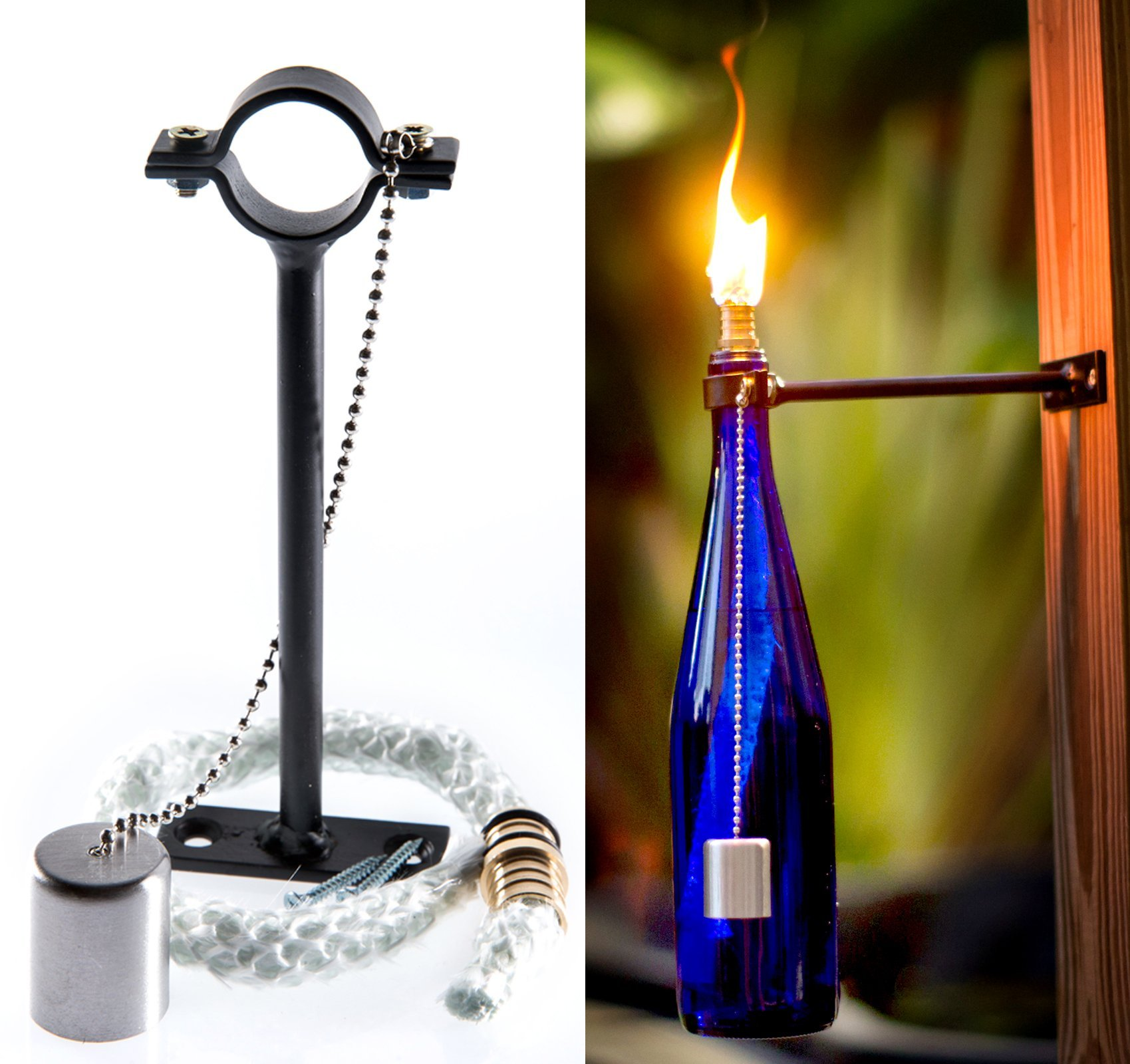 New wine bottle oil tiki torch lamp vintage bottles burner for Wine bottle patio lights