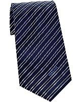 Versace Men's Striped Woven Silk Necktie Navy Blue