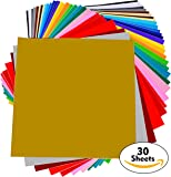 """Permanent Adhesive Backed Vinyl Sheets - PrimeCuts - 30 SHEETS 12"""" x 12"""" - 30 Assorted Color Sheets for Cricut, Silhouette Cameo, and Other Craft Cutters"""