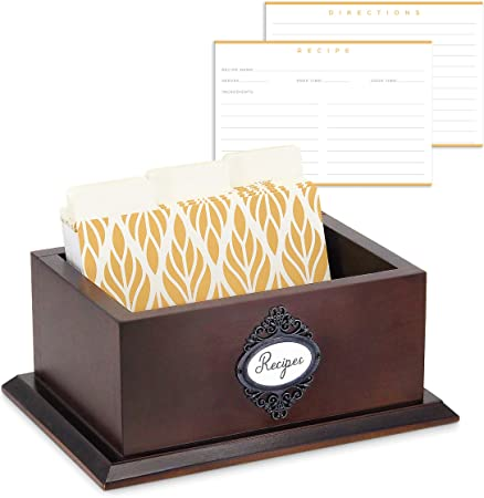 Moderna caja de recetas de madera de 4 x 6 con tarjetas y separadores – 50 tarjetas