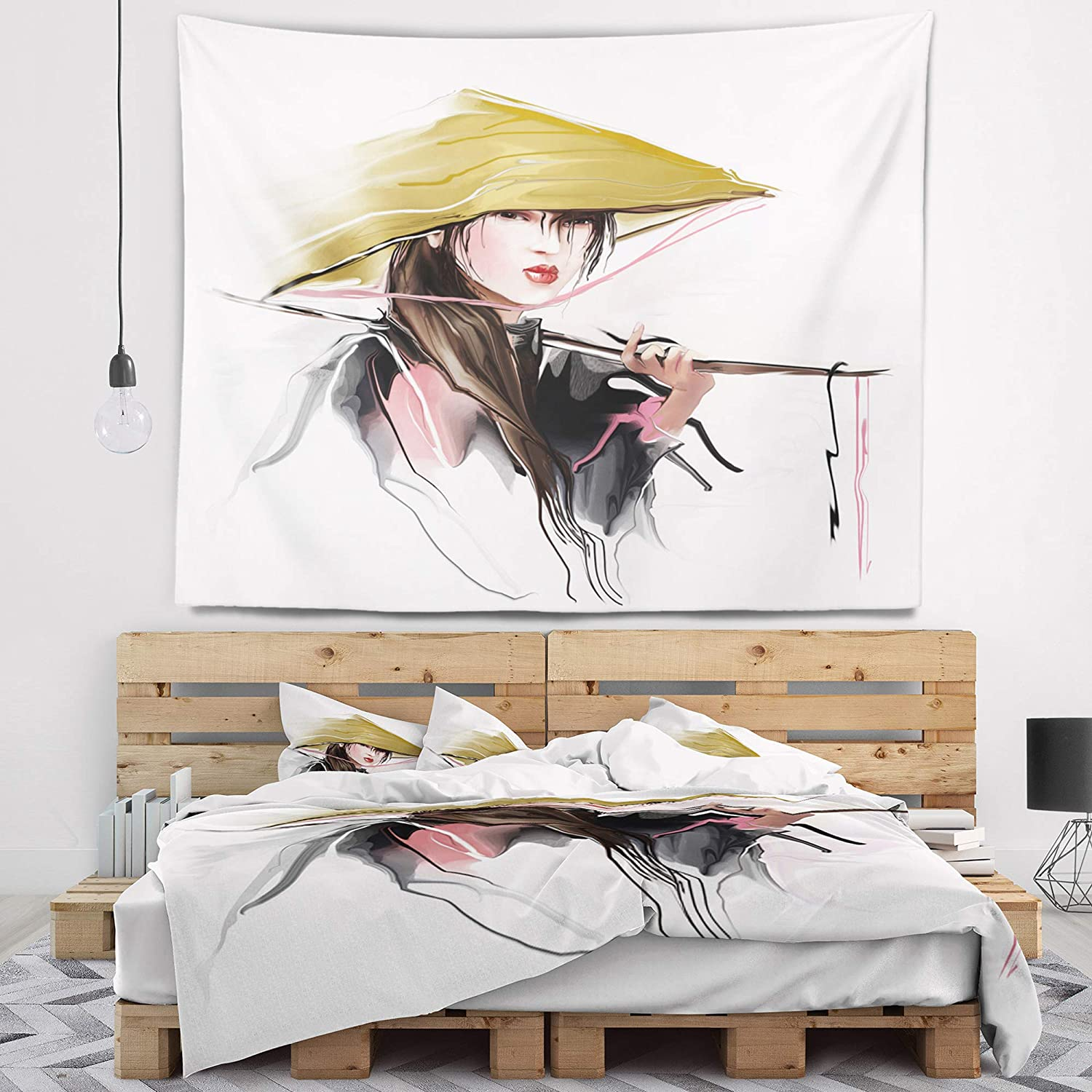 """Designart TAP7305-39-32 ' Vietnamese Woman' Digital Portrait Blanket Décor Art for Home and Office Wall Tapestry Medium: 39"""" x 32"""" Created On Lightweight Polyester Fabric"""