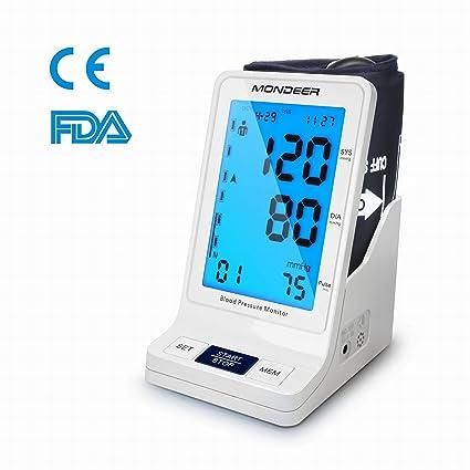 Mondeer Esfigmomanómetro de Brazo, Monitor Digital de Presión Arterial, Tensiómetro del Brazo con LCD