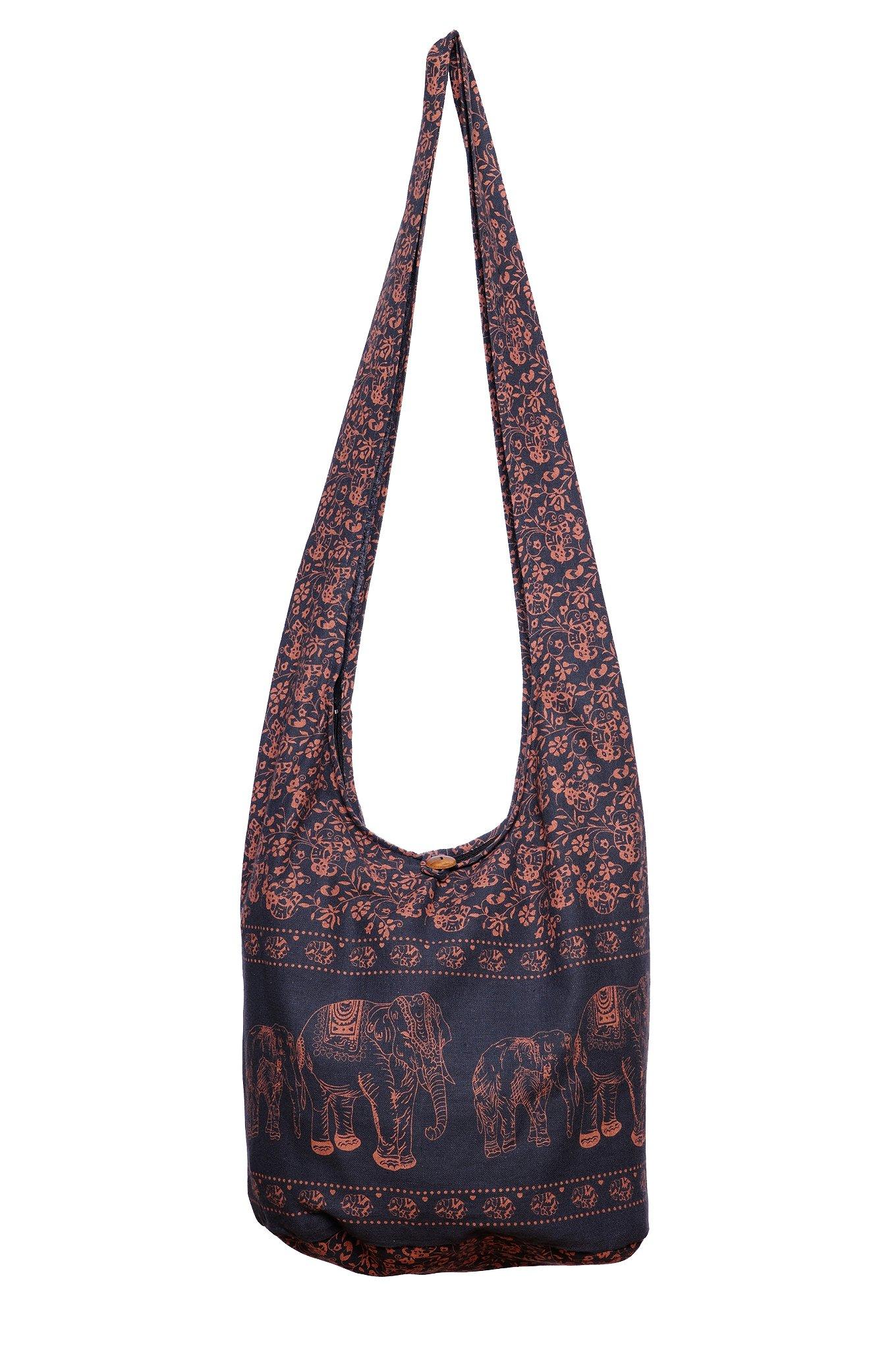 Avarada Thai Cotton Hippie Hobo Sling Crossbody Bag Messenger Purse Bohemian Print Elephant Large Deep Gray