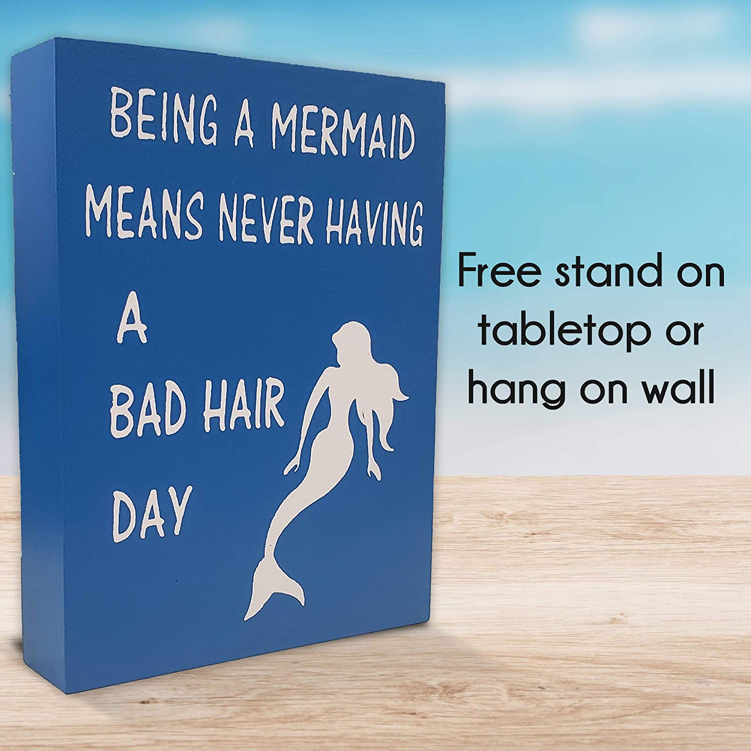 Beach House Decoration Being A Mermaid Means Never Having A Bad Hair Day Mermaid Saying for Wall Decor or Shelf JennyGems Mermaid Wooden Box Sign