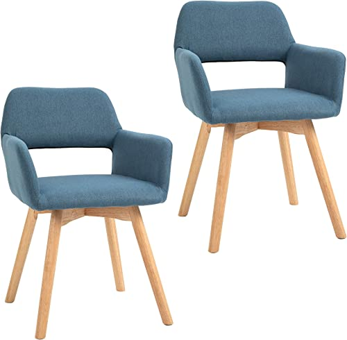 HOMCOM Set of 2 Modern Living Room Accent Arm Dining Chair