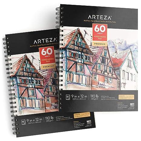 A5 148x210mm Parfait pour les médias secs et humides Carnet de croquis de 60 feuilles et plus le dessin les croquis ARTEZA Bloc de papier techniques mixtes
