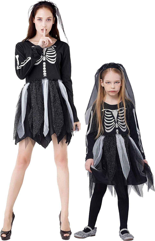 NEW Skelebones Girls Childrens Scary Skeleton Fancy Dress Halloween Costume