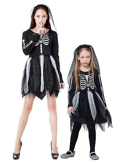 IKALI Disfraces Esqueleto Niña, Niños Aterrador Halloween Vestido, Zombie Ropa para Carnaval Partido, Dia de los Muertos