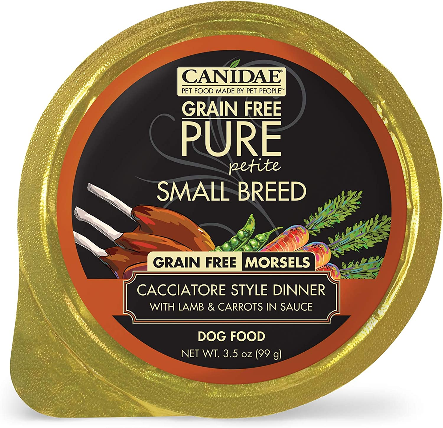 CANIDAE Petite Small Breed, Limited Ingredient Grain Free Wet Dog Food, Lamb & Carrot Morsels, 3.5oz (12Pk)