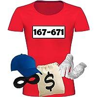 T-Shirt Panzerknacker Kostüm-Set Deluxe+ Cap Maske Karneval Damen XS - 3XL Fasching JGA Sitzung Weiberfastnacht