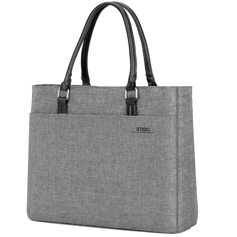 DTBG Laptop Tote Bag, 15.6 Inch Women Shoulder Bag Nylon Briefcase Casual Handbag Laptop Case for 15-15.9 Inch Tablet/Ultra-Book/MacBook/Chromebook (Grey)