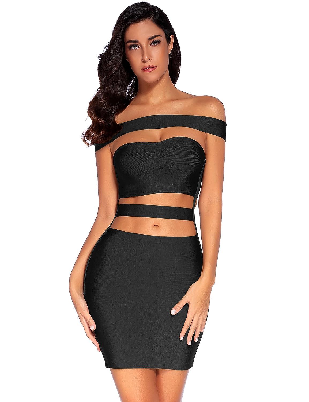 538adbf1c373 Amazon.com: Meilun Womens Off Shoulder Off The Shoulder Bodycon Club Party  Bandage Slim Dress: Clothing