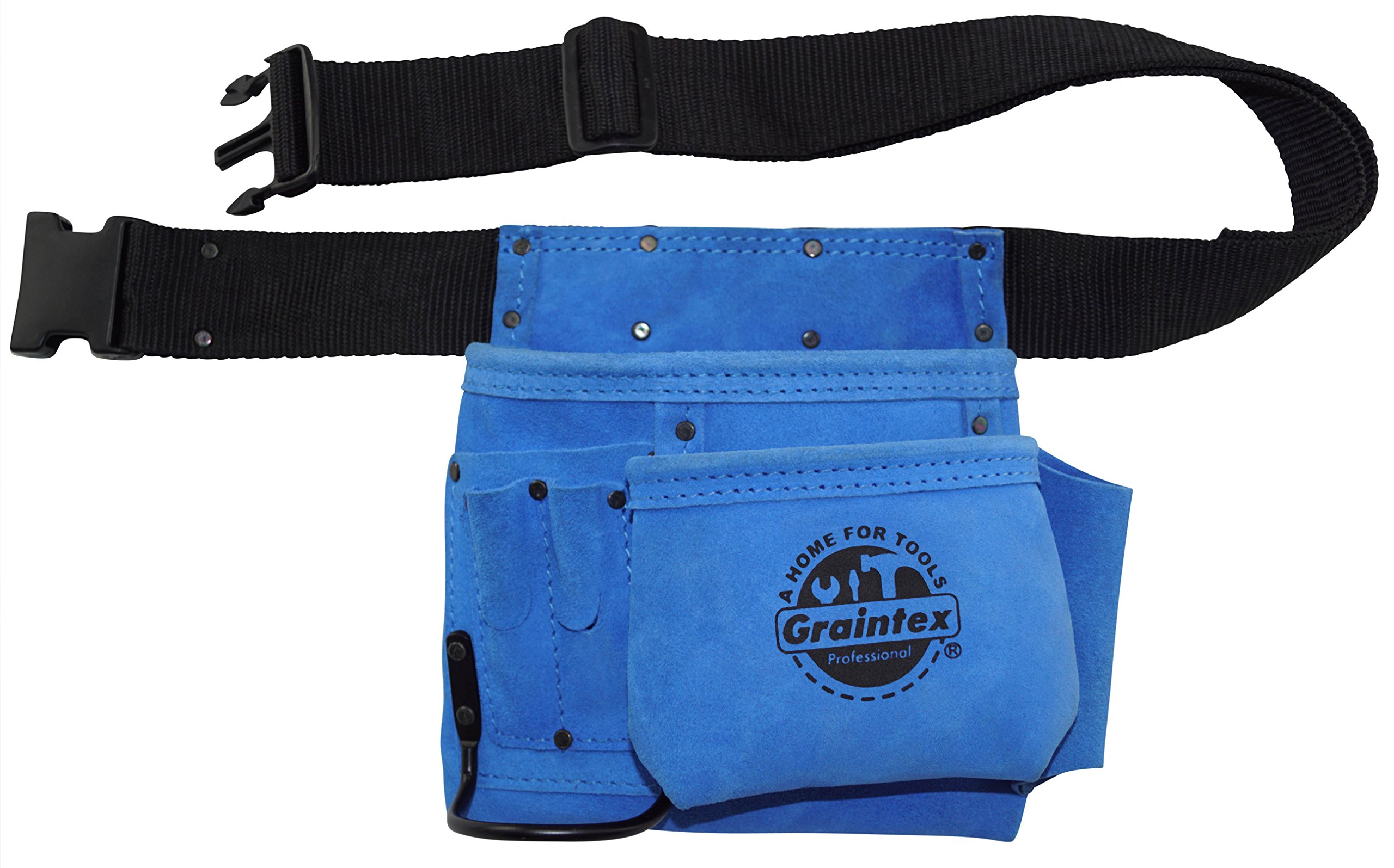 Graintex SS2045 5 Pocket Blue Color Suede Leather Nail & Tool Pouch with 2'' Web Belt Quick Release PVC Buckle