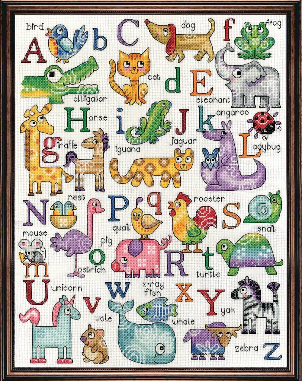 Mehrfarbig Design Works ABC Tiere 14-Count wei/ß AIDA Set