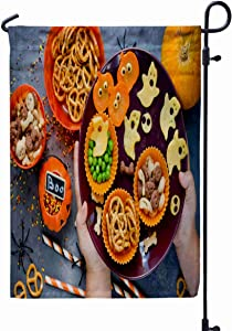 XGXC Fall Garden Flag,Home Yard Decorative 12 x 18 Inch Inches Child Hands The Table Plate Variety Treats Double Sided Seasonal Garden Flags Halloween Thanksgiving Garden Flag,Turquoise Gray
