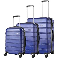 REYLEO Luggage 20in PC+ABS Carry on Luggage Travel Suitcase with USB Charging Port Built-in TSA Lock 8 Silent Spinner Wheels Side Handle, 3 Piece Set(No USB)