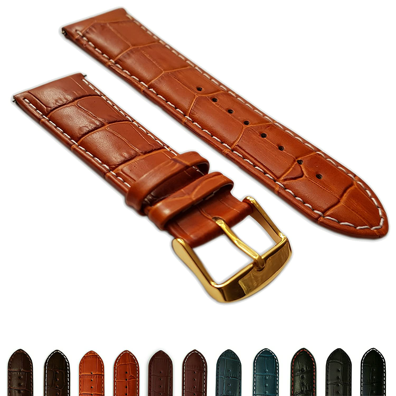 16 mmタン&ホワイト本革Mock Croc時計ストラップバンドメンズクロコダイルパッド入りゴールドバックル  B072JS9PZC