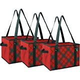 Earthwise Reusable Grocery Bag Shopping Box Tote COLLAPSIBLE BAG with Reinforced Bottom in Plaid (Set of 3)