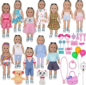 ZTWEDEN 40Pcs Doll Clothes and Accessories for 18 Inch Girl Doll Including 18'' Baby Dolls Wear Clothes Suit Dress Bikini Underwear Glasses Bag Necklace Bracelet Dog for 18 Inch Girl Baby Doll