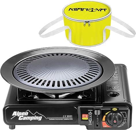 Mianova - Nevera portátil + hornillo de camping al aire libre para camping alpinismo + cartuchos de gas + placa de parrilla