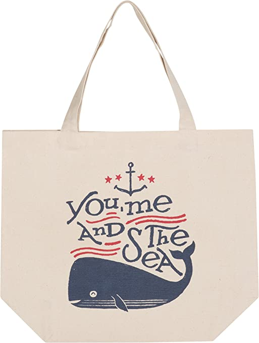 Big Whale Line Drawing Canvas Tote Bag
