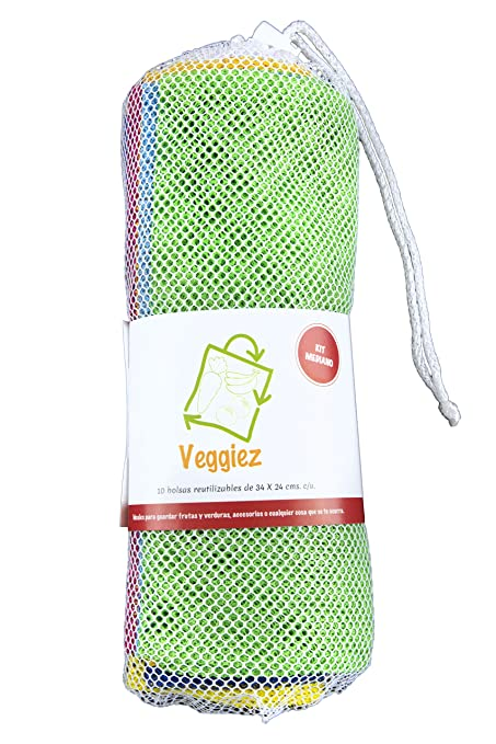 340984e23 10 Bolsas Ecologicas Para Frutas,Verduras,Supermercado, Bolsas Reutilizables,  Reusable Grocery Bags
