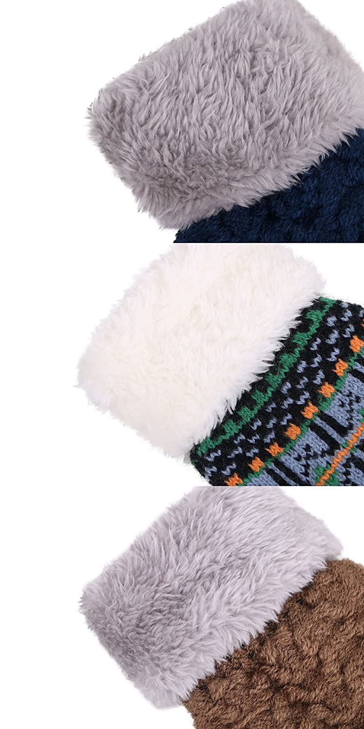 3 Pack Toddler Sherpa Lined Winter Knit Mitten Gloves