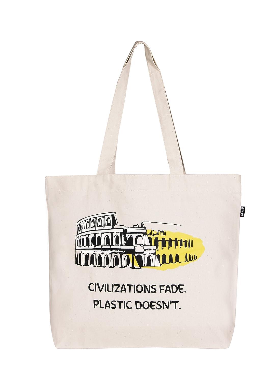 Eono Essentials Grand sac fourre-tout réutilisable avec fermeture Éclair 100% coton/toile Respectueux de l'environnement Imprimé «Cvilization» Beige (naturel)