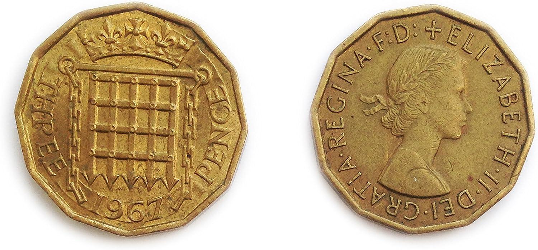 Stampbank Monedas para coleccionistas - Circulado británica 1967 de Tres centavos bit / Tres Peniques 3p Coin / Gran Bretaña: Amazon.es: Juguetes y juegos