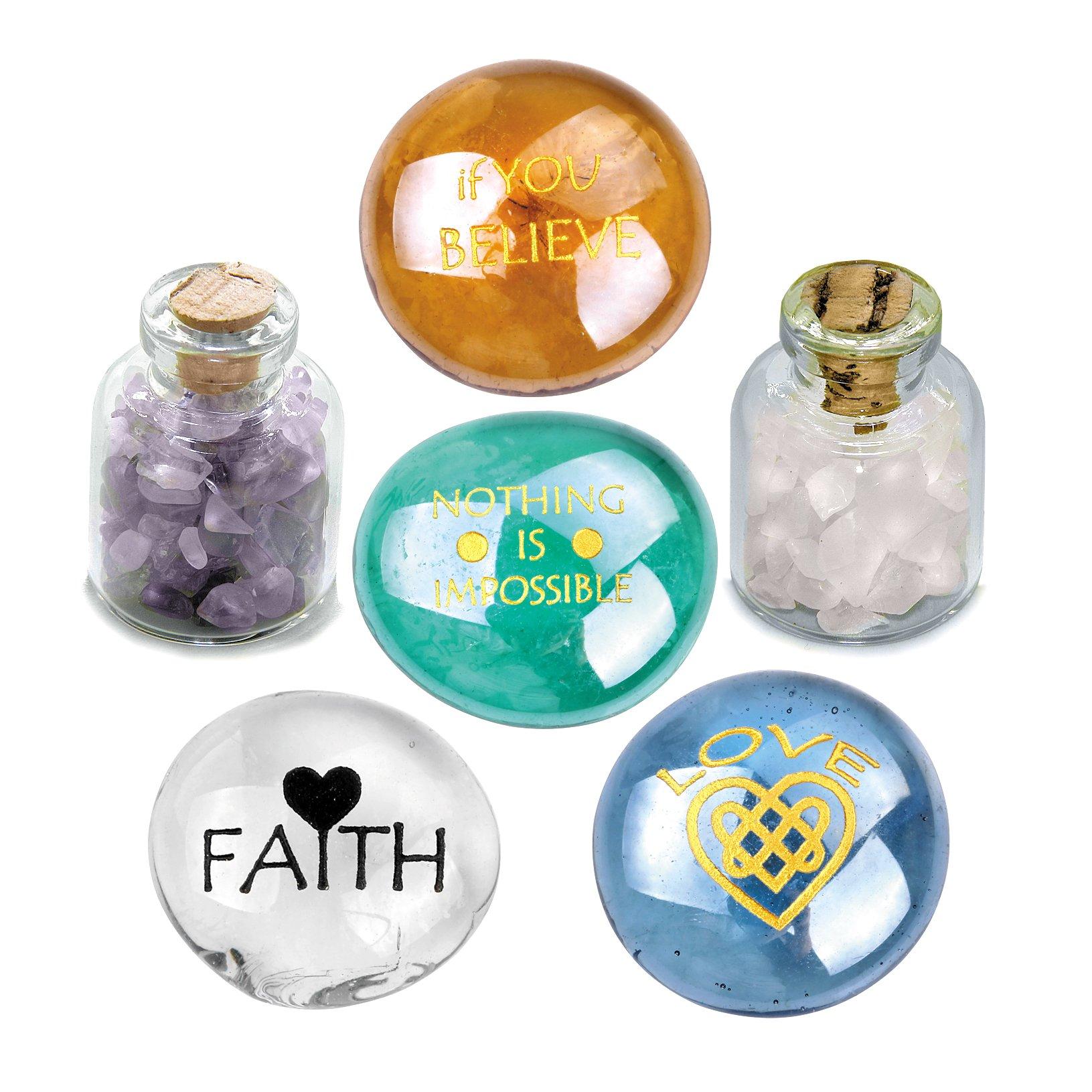 Believe Love and Faith Motivation Inspirational Amulets Glass Stones Amethyst Rose Quartz Bottles Set