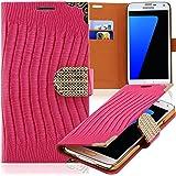 Luxus Strass Handy Tasche Schutz Hülle für Sony Xperia Z / L36H Pink Book-Style Leder Etui Glitzer Case Cover Bag