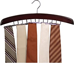 Richards Homewares Wooden Tie Rack Hanging Organizer for Mens Closet Accessories, Space Saving Necktie Holder for Storage and Display, Holds 24 Ties, Walnut Wood with Chrome Accents