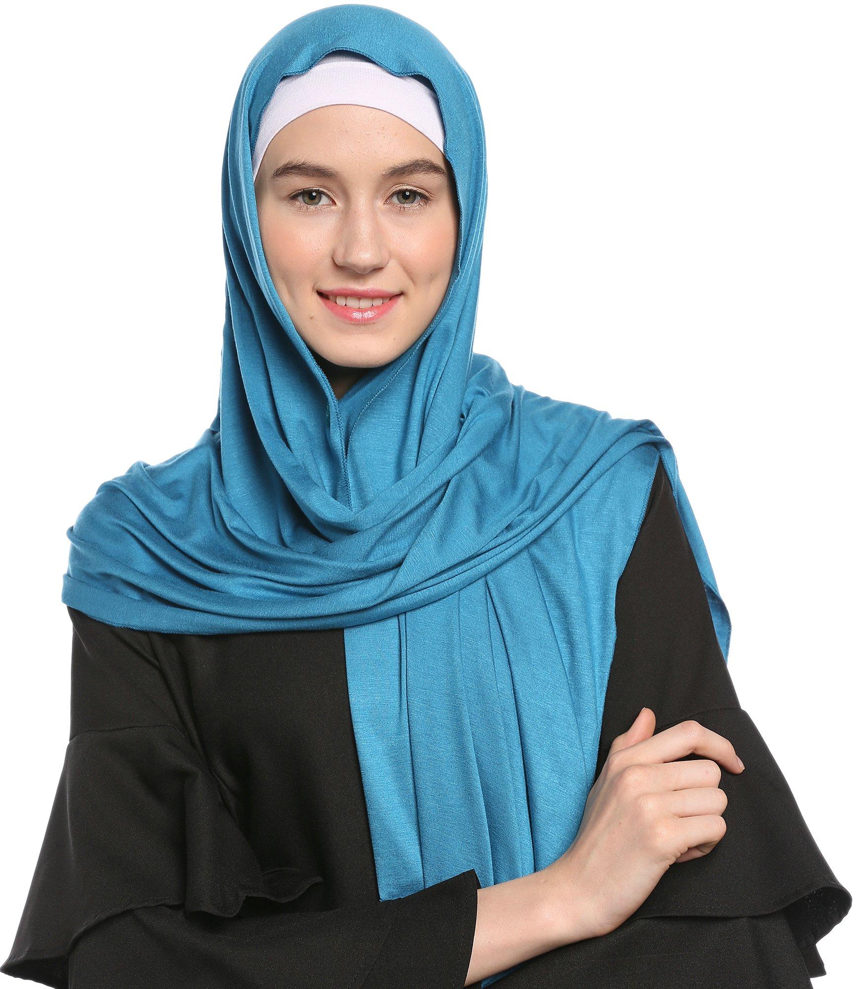 Ababalaya Womens Lightweight Cotton Jersey Hijab Scarves Shawls
