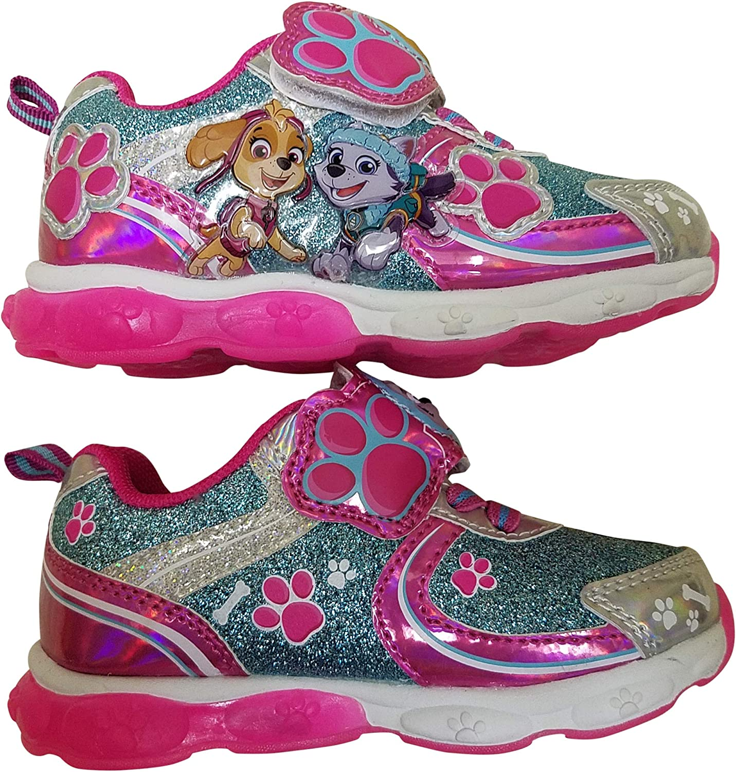 Paw Patrol Girls Light Up Sneaker Shoes with Skye and Everest
