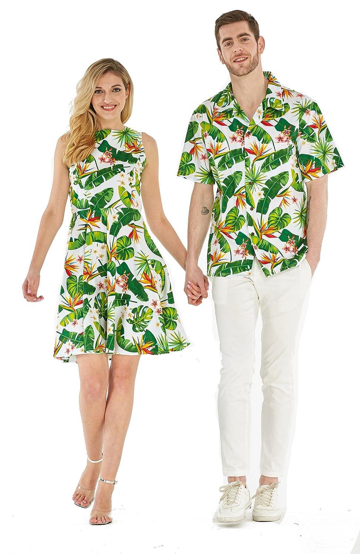 b152c670 Couple Matching Hawaiian Luau Cruise Outfit Shirt Vintage Dress Classic  White at Amazon Men's Clothing store: