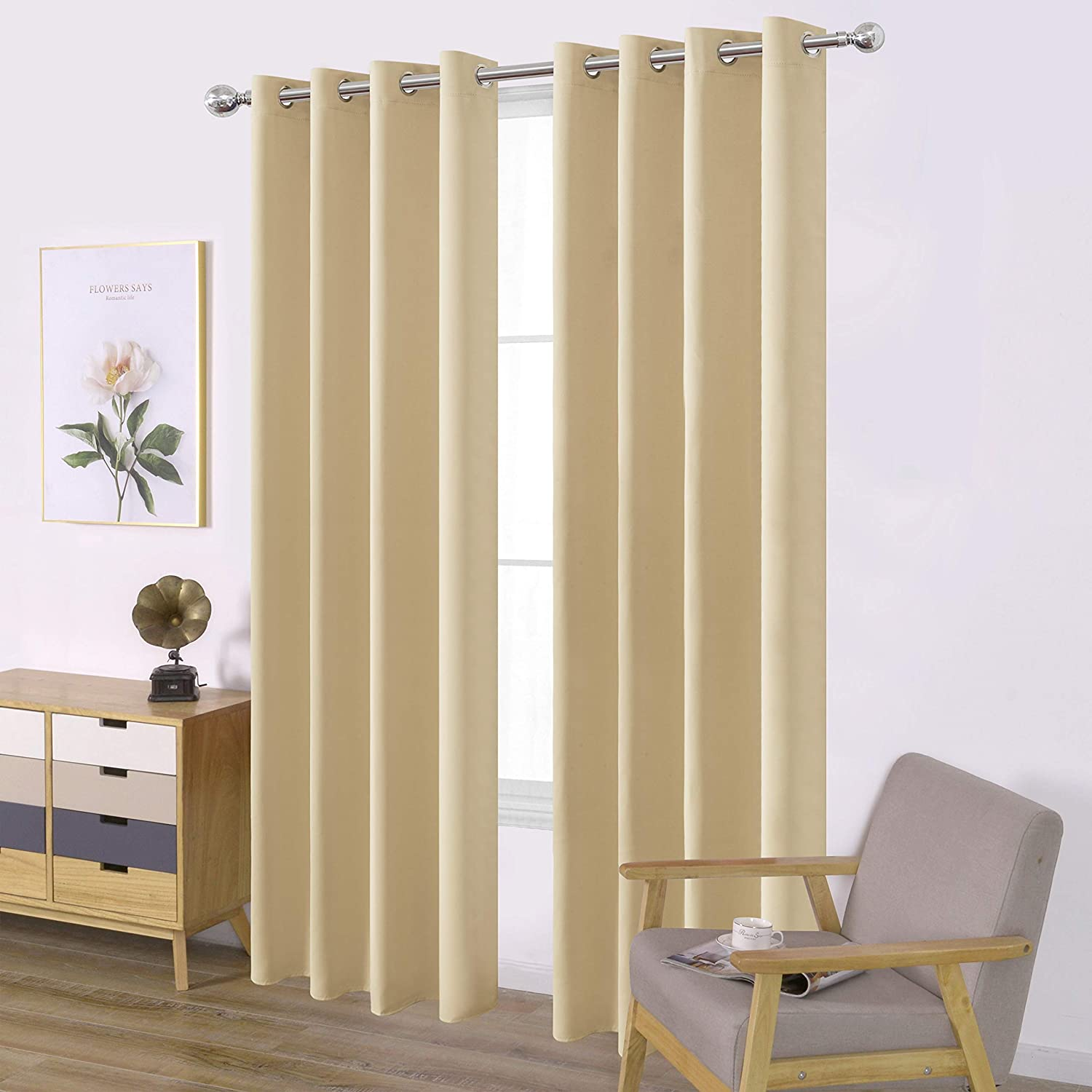 LEMOMO Beige Blackout Curtains for Bedroom Room Darkening Curtains/Draperies Thermal Insulated Living Room Curtains Beige Curtains Set of 2 Panels (52 x 84 Inch, Beige)