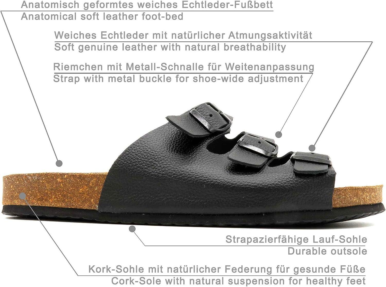 Morxiva Made In Spain Herren Leder Sommer Sandalen mit Kork Sohle und Echtleder Fußbett. Bequeme offene 3 Riemen Pantoletten Slipper Hausschuhe.