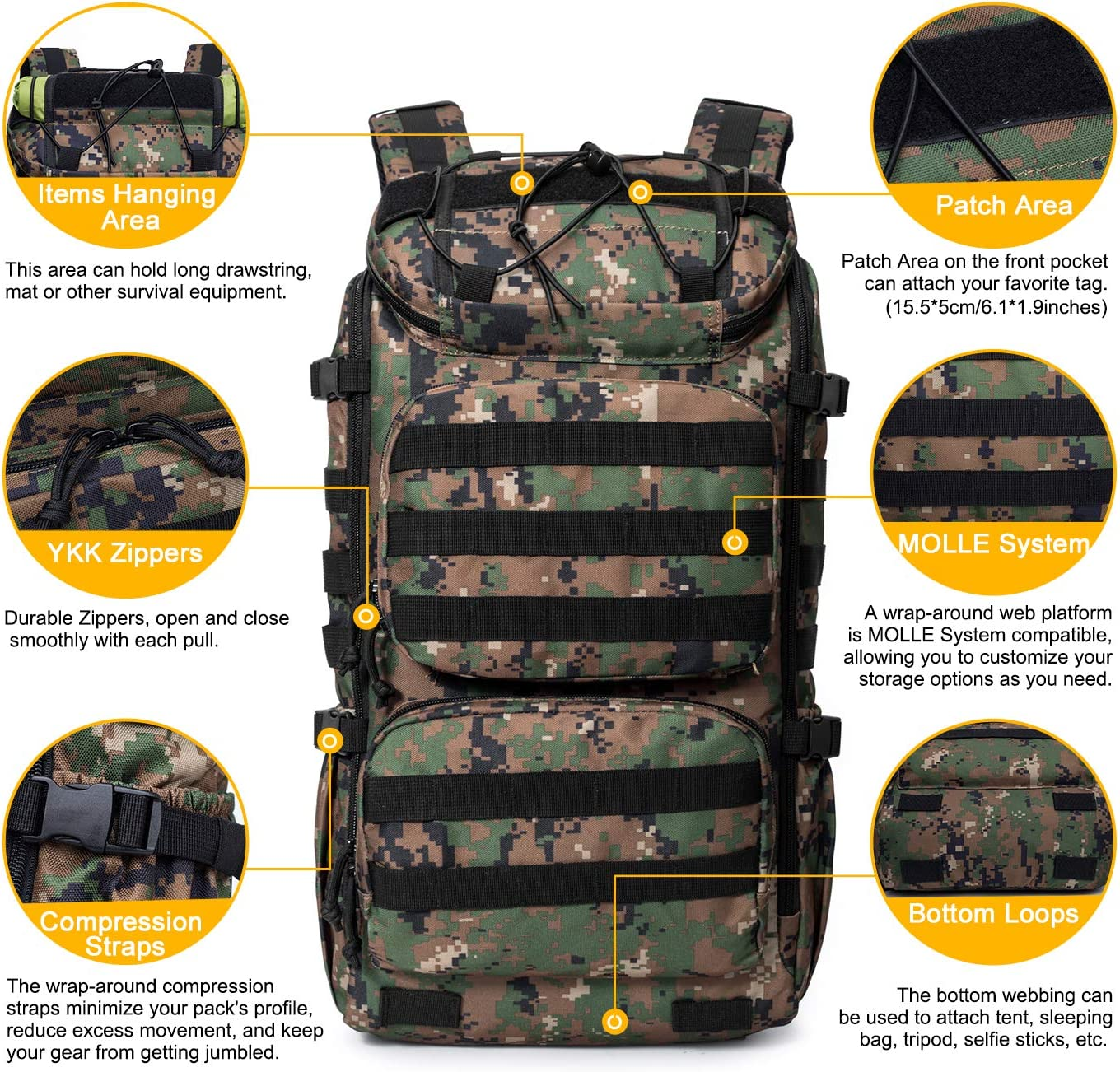 Mardingtop Tactical Backpack 40L,Large Military Backpack Waterproof Outdoor Sport Hiking Trekking Camping Travel Backpack Pack