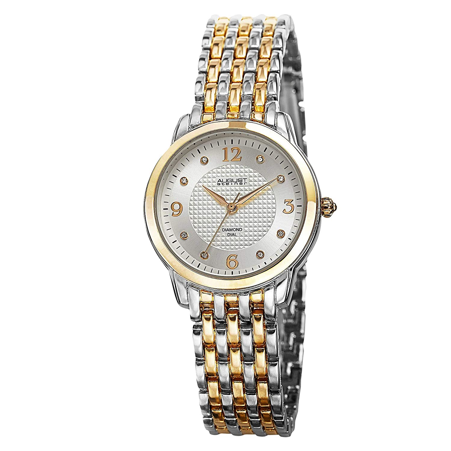 August Steiner Women s AS8133TTG Analog Display Swiss Quartz Two Tone Watch