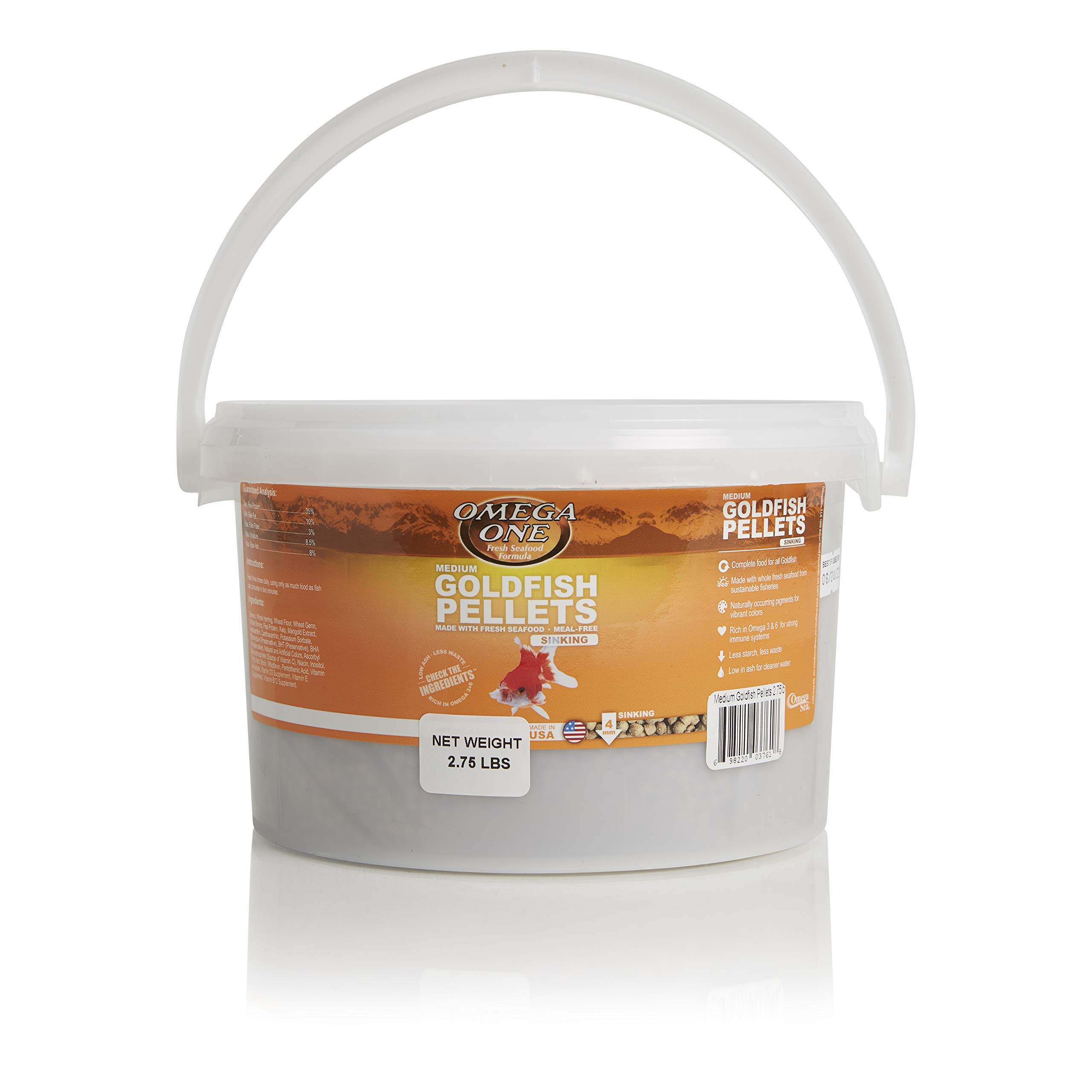 Omega One Goldfish Pellets, Sinking, 4mm Medium Pellets, 2.75 lb Bucket by Omega One