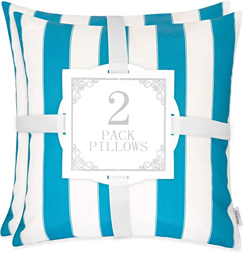 Homey COZY Set of 2 Outdoor Throw Pillow Covers Classic Large Pillow Decorative for Patio Lawn Couch Sofa Lounge Square 20 , Cover Only Aqua-2