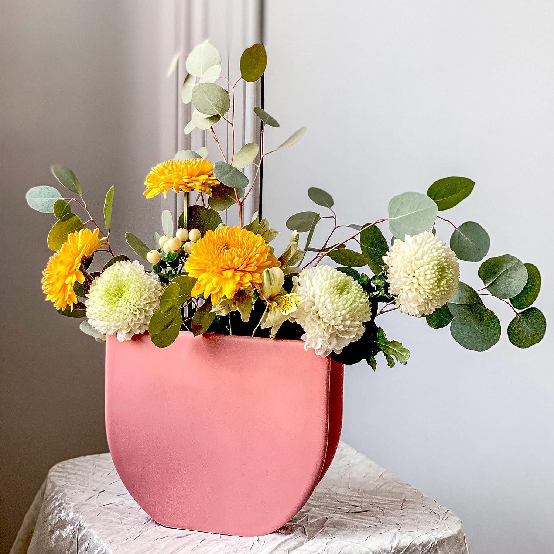 Rhapsody Studio Half Round Tea Rose Ceramic Vase - Vases for Flowers, Home Office Decor, Coffee Table Decorations for Living Room, Flower Vases Decorative, Aesthetic Room Decor, Modern Home Decor Gift