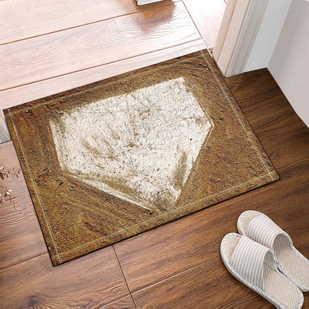 HiSoho Sports Decor Home Plate Baseball Bath Rugs Non-Slip Floor Entryways Outdoor Indoor Front Door Mat,16X24 Inches Bath Mat