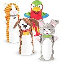 Melissa & Doug 9084 Playful Pets Hand Puppets, Puppet Sets (Rabbit, Parrot, Kitten, and Puppy, Soft Plush Material, Set…