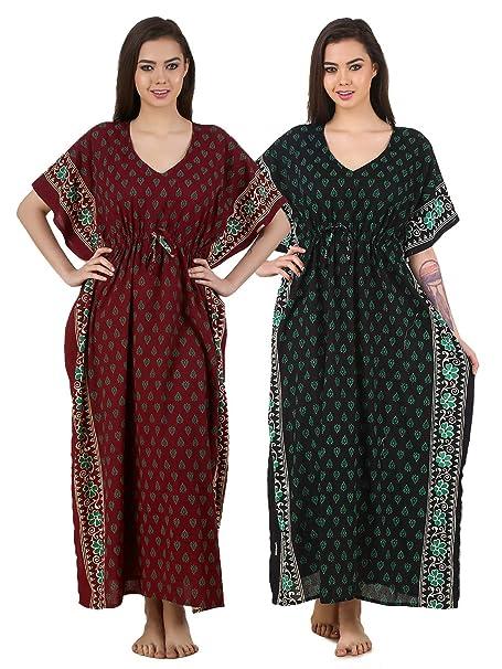 29a2b5cbbe Image Unavailable. Image not available for. Colour: Masha Womens Batik  Print Cotton Kaftan Nighty