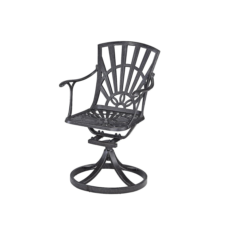 Amazon Com Home Styles Model 5560 53 Largo Swivel Chair Charcoal Finish Patio Lawn Garden
