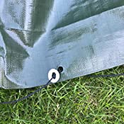 White Tarpaulins optional Bungee Ball Securing Strong Eyelets Heavy Duty Green